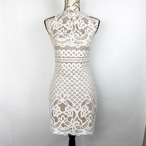 Love Fire Sleeveless Mock Neck Mini Lace Dress S